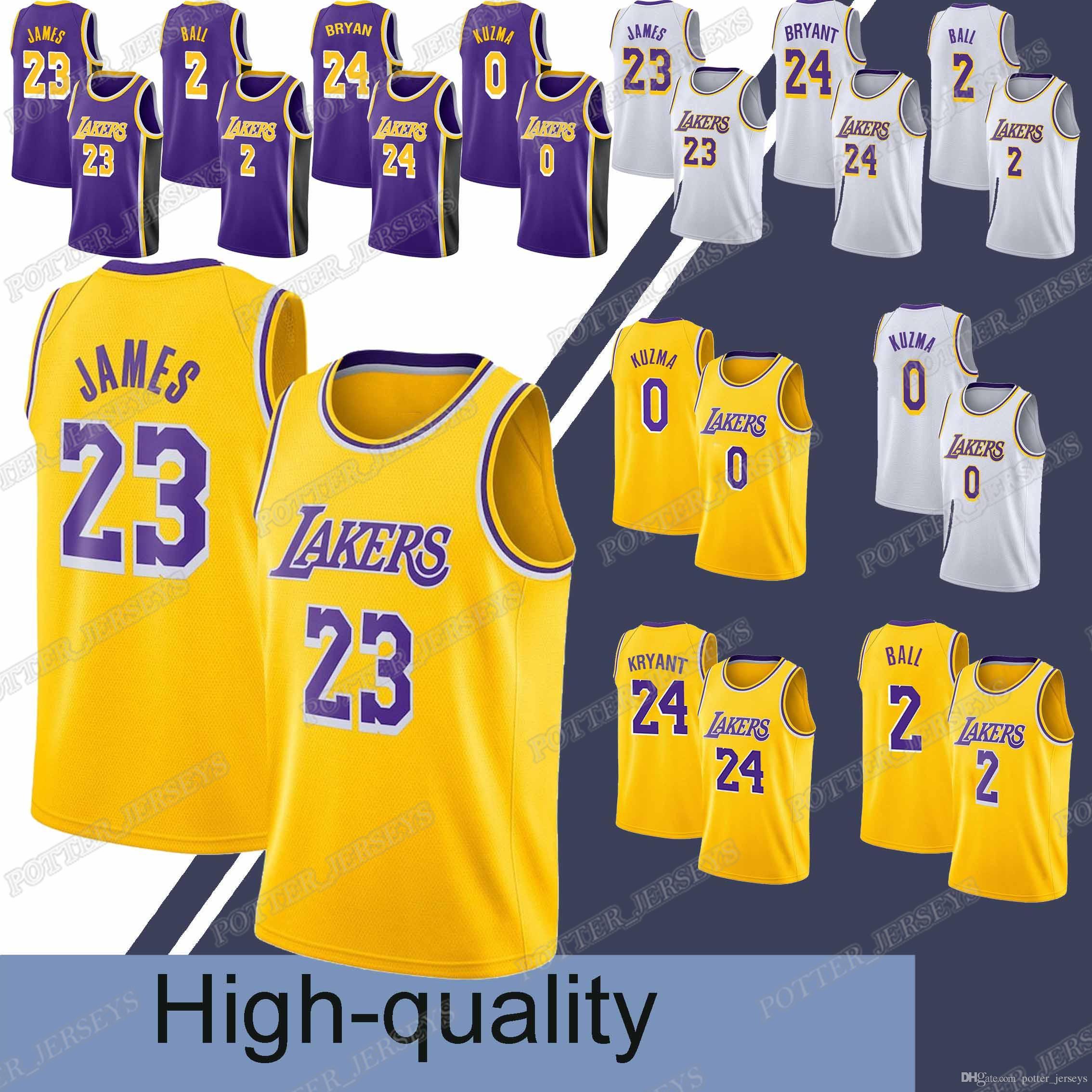best service e67e0 4116d 23 LeBron James jersey Laker jerseys 24 Bryant 0 Kuzma 2 Ball Hot sale 2019  men basketball jerseys