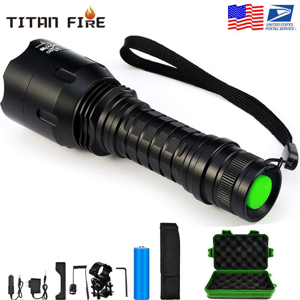 10000Lumens C8 5 Mode Hunting Flashlight Tactical Flash Light L2 LED Torch Waterproof Aluminum Hiking for Camping Use 18650