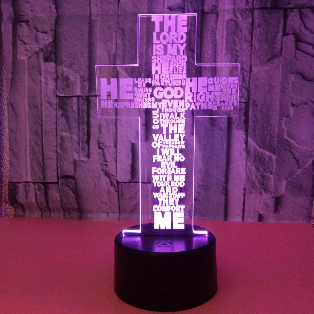 Personnalisée De La Led Lampe Touche Croix Petite Veilleuse Colorée Vision 3d Usb OPXiZku
