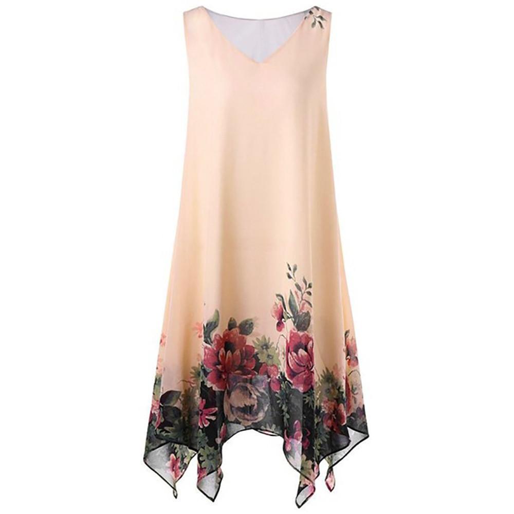 f9b07a504148 Vestido de las mujeres del verano de la impresión floral gasa sin mangas  irregular mini vestido de playa vestido delgado vestidos cortos más ropa de  ...