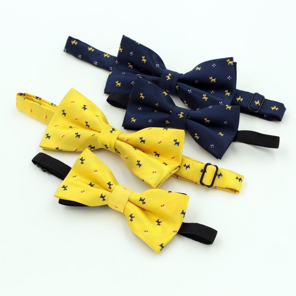 New Best Selling Cartoon Papillon per gli uomini Kid Fashion Lovely Dog Pattern Wedding Party Giallo Blue Bowtie bambini