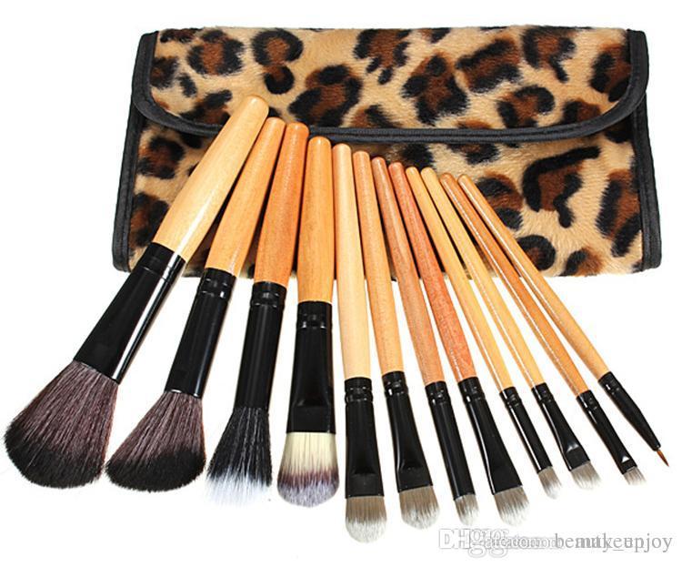 a97f71445d4 Leopard Makeup Brushes Set Professional Natural Wood Handle ...