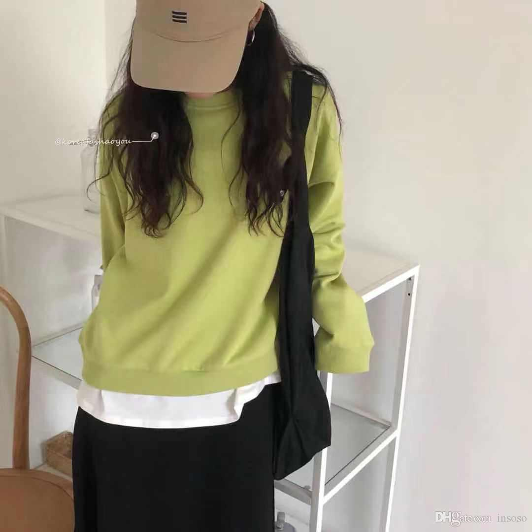 Mix and match solid color long sleeve T-shirt women's autumn 19 Korean version losose ins super fire round neck bottoming top