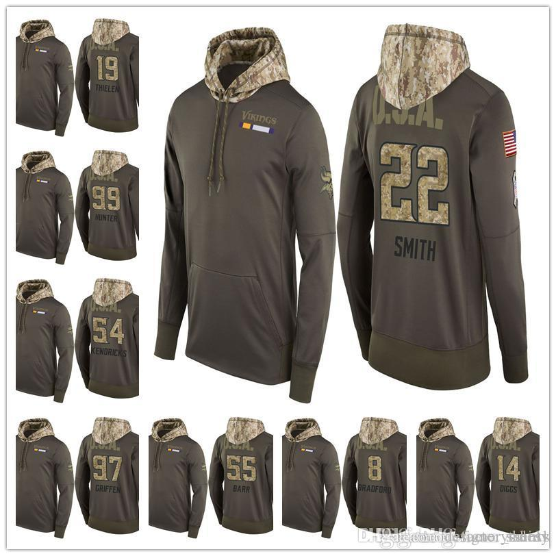 on sale 847b8 580ff 2019 Men Youth Women Vikings Salute to Service Sideline Therma Pullover  Hoodie Harrison Smith Stefon Diggs Teddy Bridgewater Adam Thielen