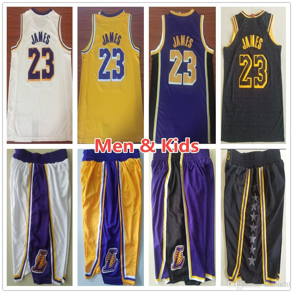 huge selection of 1078c 91842 Men Youth Kids 23 LeBron James Jersey New Yellow Purple White Color LeBron  James Jerseys Child Stitched Sportswear Shirt