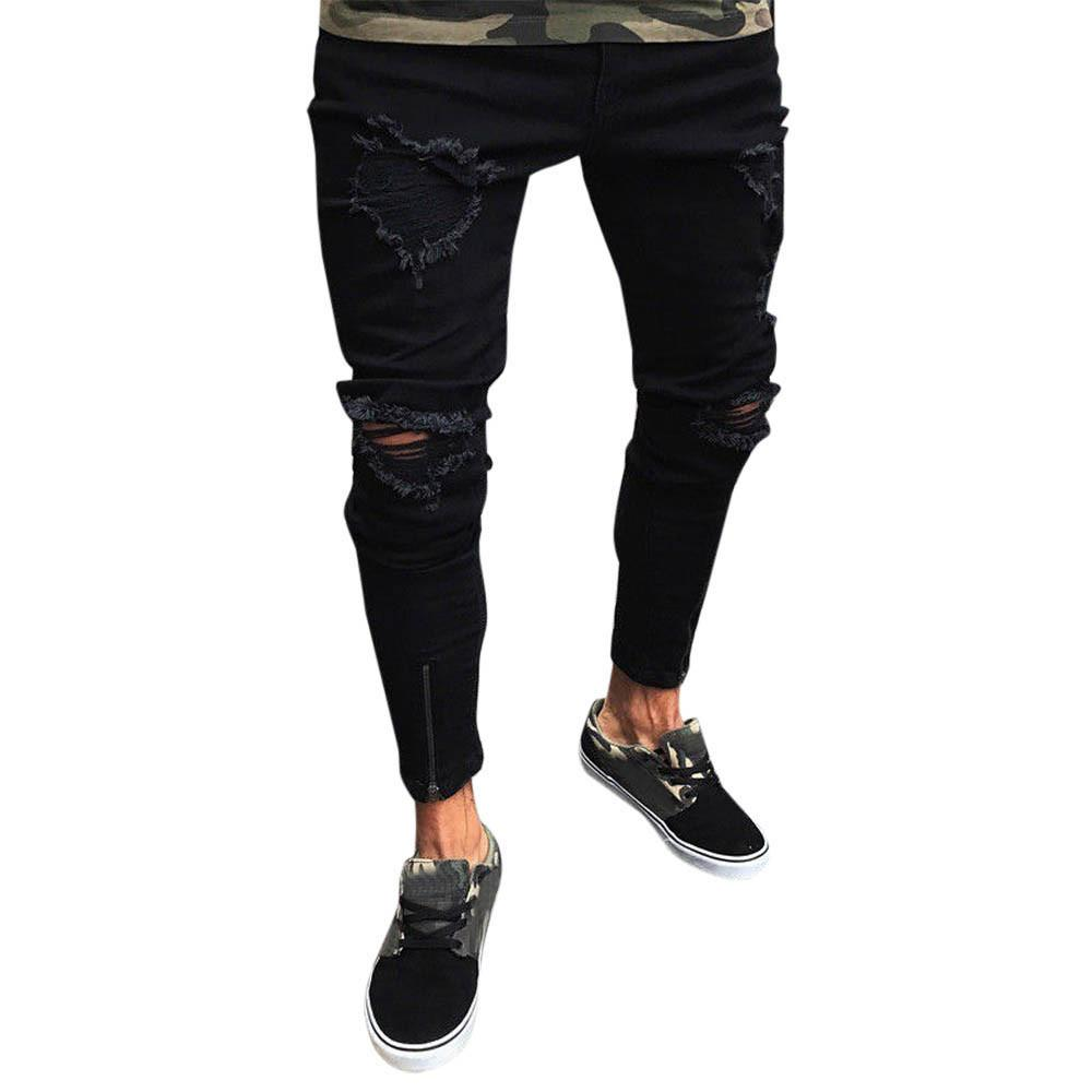 Men's Hole Jeans Stretch Jeans Casual Zipper Feet Black Distressed Rip Trousers Skinny Frayed Pants Y426