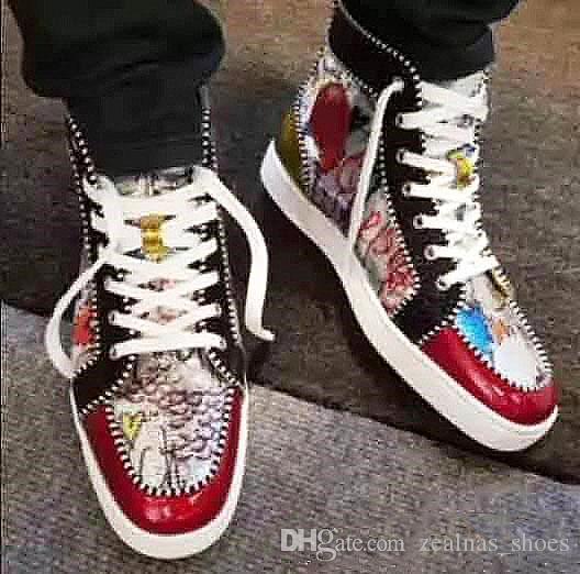 fa4d00f5d0d Hot Sell Men Women Luxury Red Bottom Sneakers High Top Print Silver Pik Pik  No Limit Rare Studs Rhinestones Graffiti Brand Louboutin Shoes Formal Shoes  Shoe ...