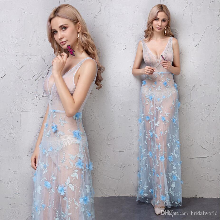 Evening Dresses Sexy Club Wear Blue Floral Lace Transparent V Neck Crystal  Long Runway Fashion Beaded Prom Gowns Red Carpet Dresses 2019 Elegant  Evening ... e0de2bcd56b7