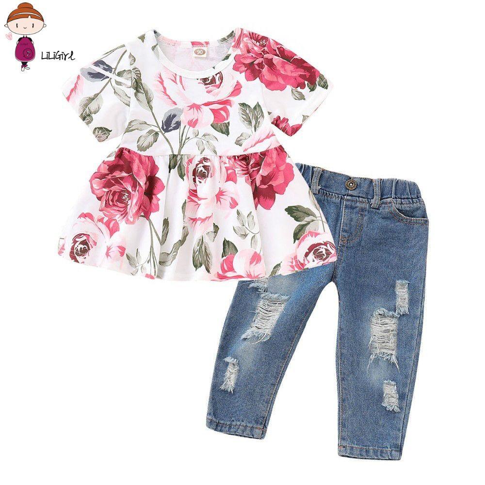 7155532b5 Compre Conjunto De Ropa Para Bebé Niña 2 Piezas Con Estampado Floral En  Color Rosa Tops + Pantalones De Mezclilla Trajes Conjunto De Ropa Infantis  A  35.74 ...