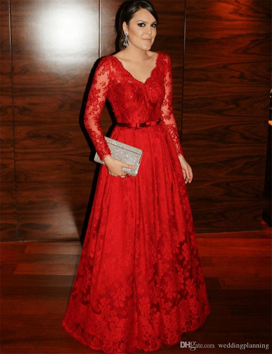 Elegant V-neck Lace Applique Red Prom Dress Belt Long Sleeves Beads Sequins Floor Length Lace Evening Dress Celebrity Gowns