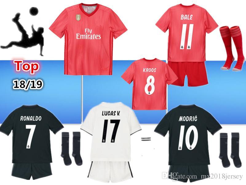 15ec9d9c596dc Kit De Niños De 2019 Real Madrid Football Jersey 2018 19 Inicio Camisetas  De Fútbol De Away Boy Blanco ISCO ASENSIO BALE KROOS Niño 3er Rojo Camisetas  De ...