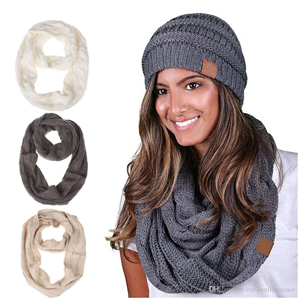 37a0388dbf 2 pezzi / set Donna inverno maglia sciarpa cappello lana maglia anello  caldo sciarpa all'uncinetto doppio cerchio e cappelli di lana 13 colori