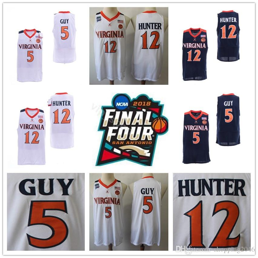 068c5d8cf NCAA 2019 Champions Virginia Cavaliers Jersey 5  Kyle Guy ACC UVA Final  Four 12 De Andre Hunter White Men s Basketball Jerseys Stiched Blue