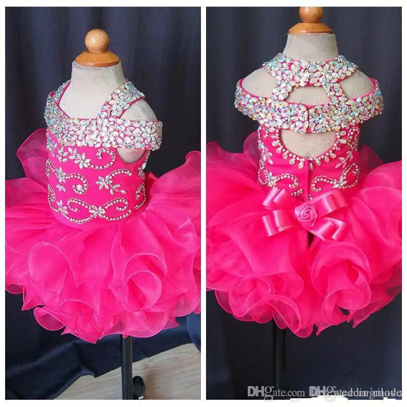 Cute 2019 Infant Mini Short Skirts Toddler Girls Ruffles Flower Girls Dress Baby Girls Glitz Crystal Beaded Pageant Cupcake Gowns Real Photo