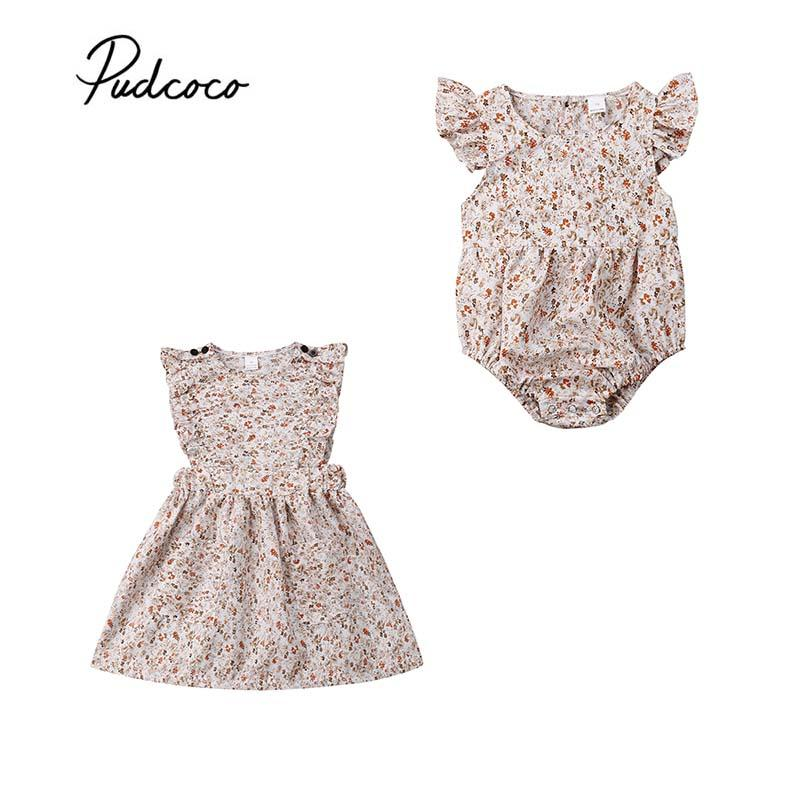 2019 Toddler Kid Baby Girl Clothes Boho Ruffle Floral Kid Dress Baby Bodysuit Sister Matching Holiday Tutu Princess