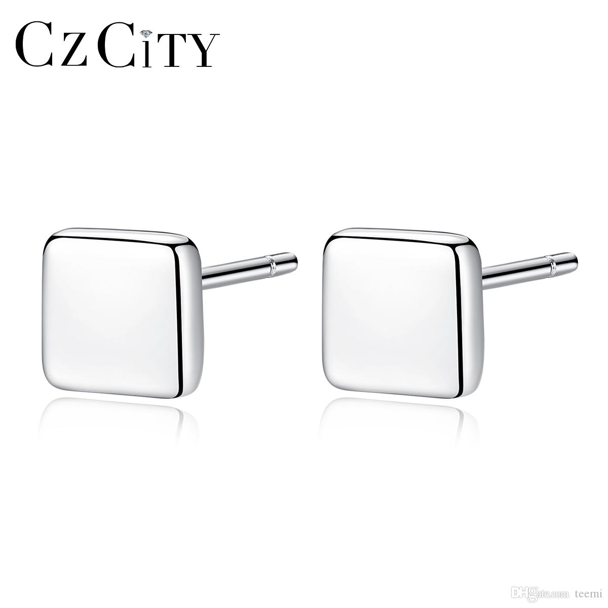 0f66733c7 PAG&MAG Square Small Women Silver Stud Earrings for Women Simple ...