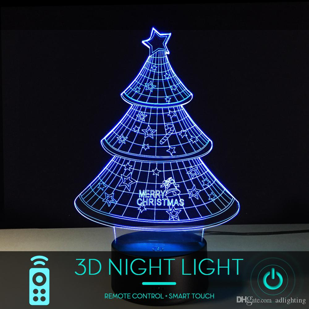 ef3b52a0b67c0 Compre Lámpara De Escritorio 3D Con 5 Piezas De Árbol De Navidad Con Plano  De Acrílico