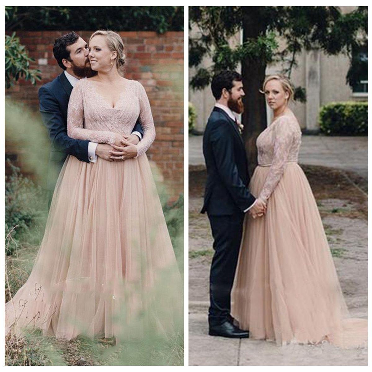 Blush Pink Wedding Dresses 2019 Plus Size A Line V Neck Long Sleeve  Backless Floor Length Sequins Lace Sashes vestido de novia Bridal Gowns