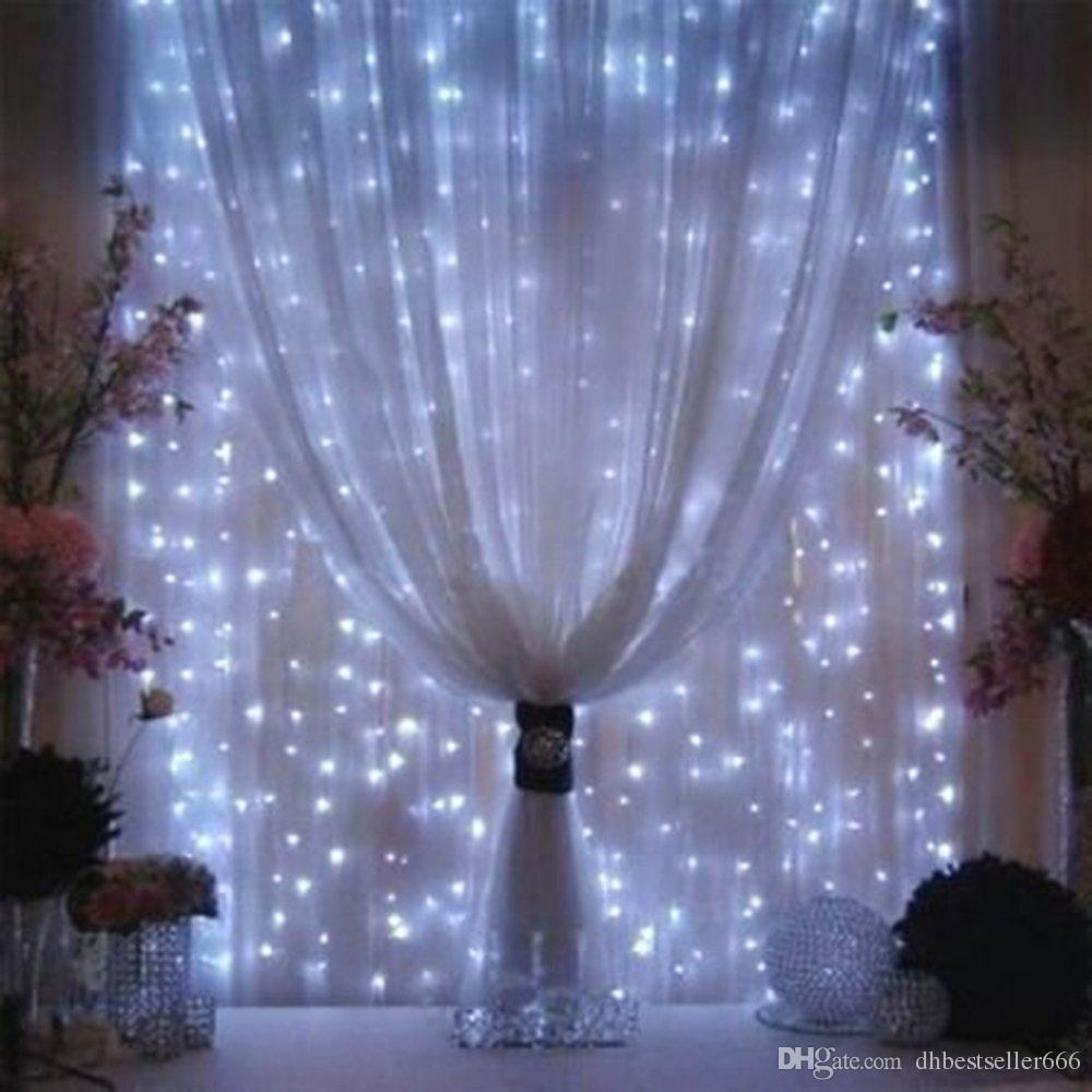 3M x 3M LED Window Curtain String Fairy Lights Curtain Garlands Strip Party Lights For Wedding Wall Decoration Wedding Party Home Garden