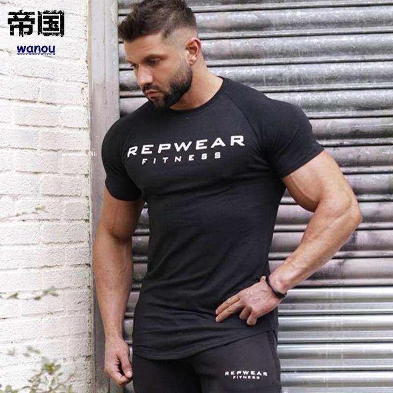 f94f95ab8dd3 New Summer Shirt Cotton Gym Fitness Men Breathable Fashion New T Shirt  Brand Clothing Sports Running Male Print Short Sleeve Running T Shirt Best T  Shirt ...