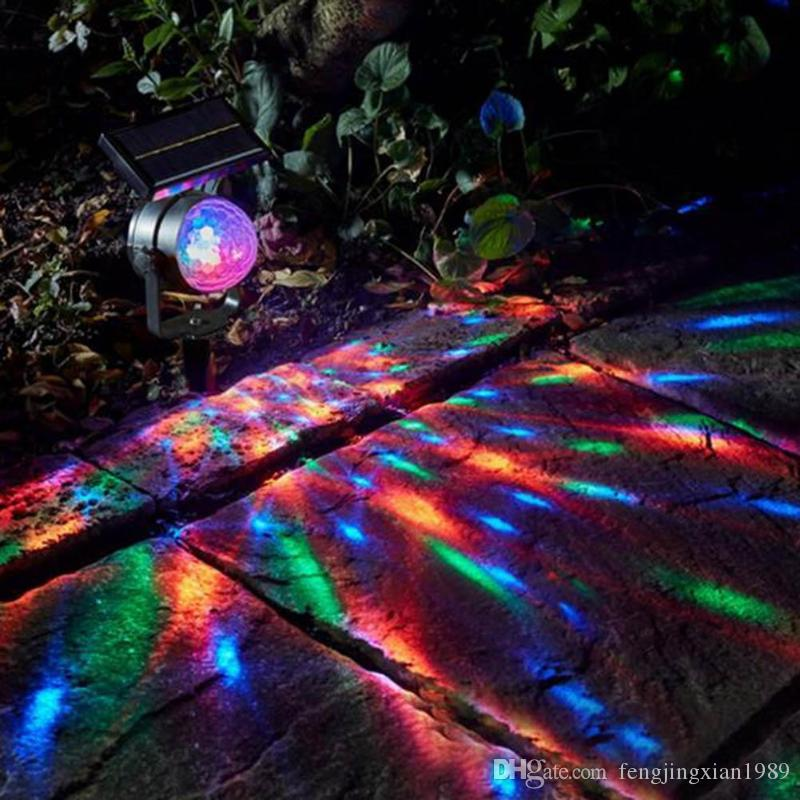 Solar Colorful Lights Rotating LED Projection Energy Saving Light Garden Lawn Lamp Outdoor Bulb Street Yard Path Decoration