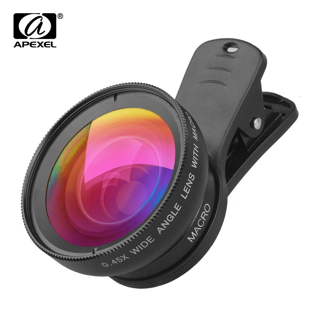 wholesale 10 Pcs/lot Wholesale Camera Lens Mobile Phone 0.45x Super Wide Angle + 12.5x Super Macro Lens HD for Phone Drop Shipping