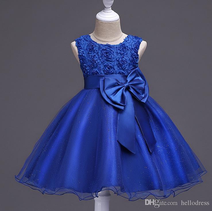 Compre Vestidos De Niña De Flores Azul Marino Rosa Con Escote Redondo Sin  Mangas Con Arco Vestidos De Niña Cortos Color Multicolor Disponible Para  Blanco ... 3287018e7f56