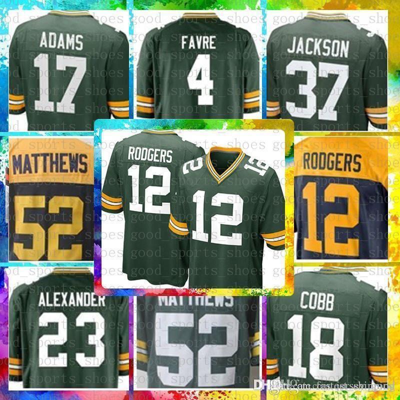 buy online 355a4 b5136 cheap 12 Aaron Rodgers Green Bays Packers Jersey 17 Davante Adams 80 Jimmy  Graham 23 Jaire Alexander 52 Clay Matthews 4 Brett Favre Nelson