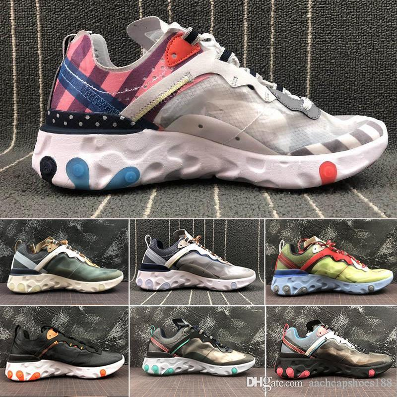 nike Epic React Element 87 mulheres homens Reage Elemento 87 disfarçado Running Shoes Designer 87s Thea malha respirável chaussure homme Sneakers Sports Trainers sapato