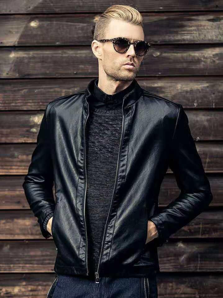 2019 New Brand Man Leathers Jacket Young Boy Cool Coat Motorcycle