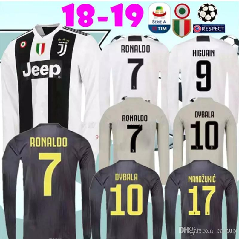 reputable site 4dfa8 ea84e 2018 2019 Juventus Home away 3rd RONALDO black soccer Jersey 18 19 DYBALA  KHEDIRA D.COSTA MANDZUKIC long sleeve Adult Football shirts
