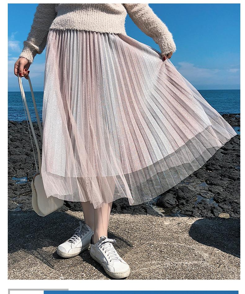 f4369224b Capa falda larga de verano falda de las mujeres de playa casual de malla de  encaje de lentejuelas color degradado moda femenina negro