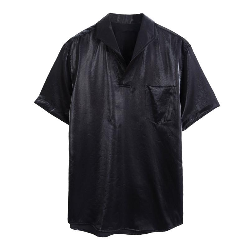 Mens Pullover Shirts Short Sleeve Summer Breathable Mens Quality Casual Shirts Loose Solid Cotton Men Dress