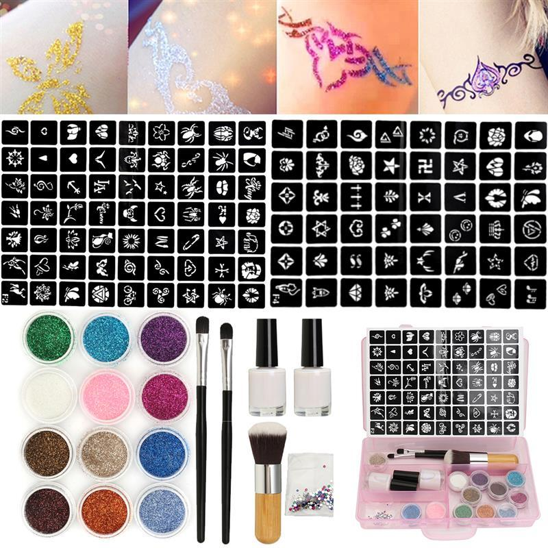 Body Art Tattoo Kits 12 Colors Powder Temporary Shimmer Diamond Glitter Tattoo Kit For Body Art Design Paint With Rhinestone 111