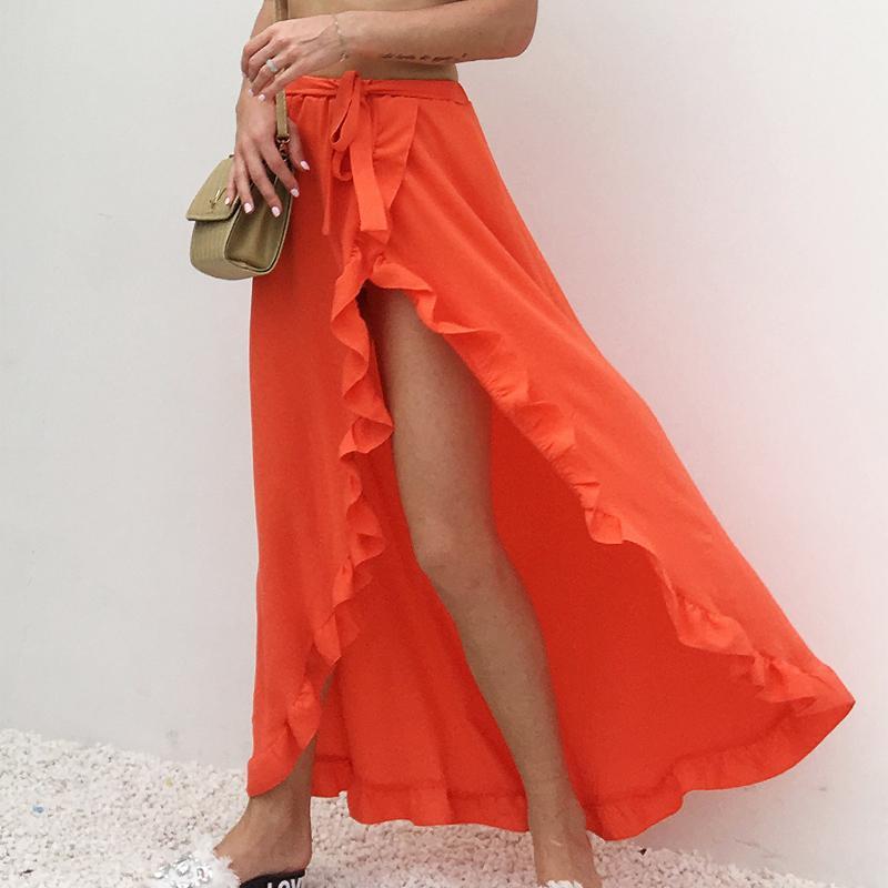 642bccb092 2019 Ruffle Solid Beach Summer Long Maxi Skirt Womens Boho Side Split White  Black Yellow Elastic Waist High Waist Skirts Clothes Y19043002 From  Zhengrui01, ...