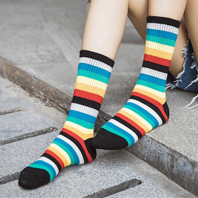 1Pair Rainbow Socks Cotton Tube College Stripe Socks Women Girls Funny Colorful Harajuku Cool Skateborad Ankle Sox Female