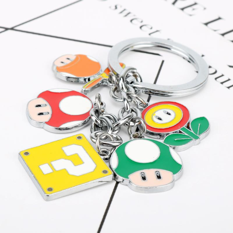 Cartoon Super Mario Bros Figure Toys Keychain Nario Luigi Mushroom Question Mark Pendant Key Chain Ring Cosplay Chaveries