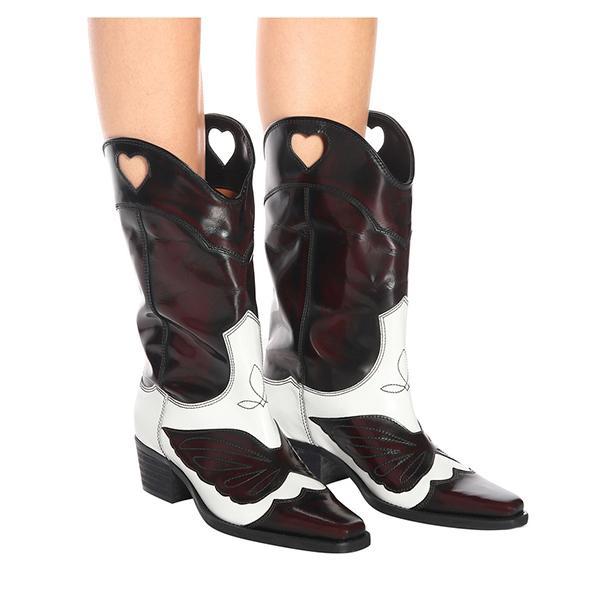 822892d6236 Compre Qianruiti Marrón Rosa Vintage Zapatos Mujer Colores Mixtos Cuero  Antiguo Botas Largos Punta Puntiaguda Apiladas Tacón Cubano Botas De  Vaquero A ...