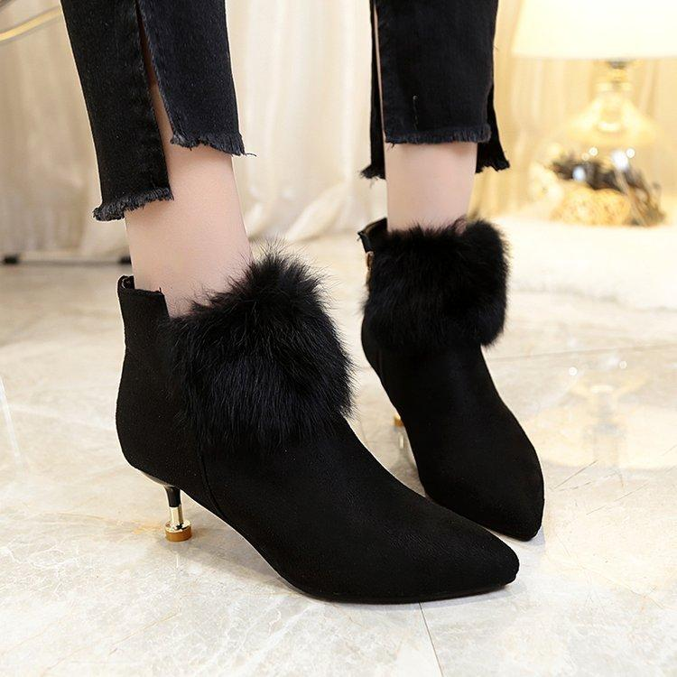 da966df86372 Winter Rabbit Fur Boots Gold Heeled Women Boots Thin Heels High Heels Ankle  Boots Sexy Black Dress Shoe Female Booties 785 Footwear Fringe Boots From  ...