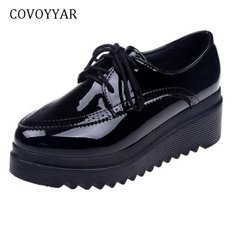 5288c64ff07 Covoyyar 2019 Wedges Brogues Shoes Women Platform Lady Pumps Patent Leather  High Heels Lace Up Cut Out Casual Black Shoes Whh680 Nude Shoes Womens  Sandals ...