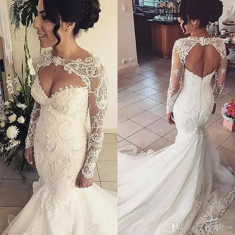 917a6a27b421c Azzaria Haute Mermaid Wedding Dresses With Long Sleeve 2018 Plus Size  Backless Vintage Bead Lace Wedding Gown Keyhole Front Open Back Bride  Wedding Dress ...