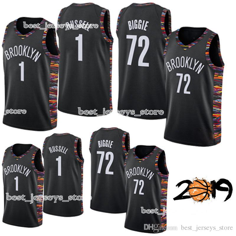 new concept e30ed d9bc9 72 Black Biggie 1 D'Angelo Russell BROOKLYN Basketball jerseys NETS  High-quality new 2019 men Design jersey