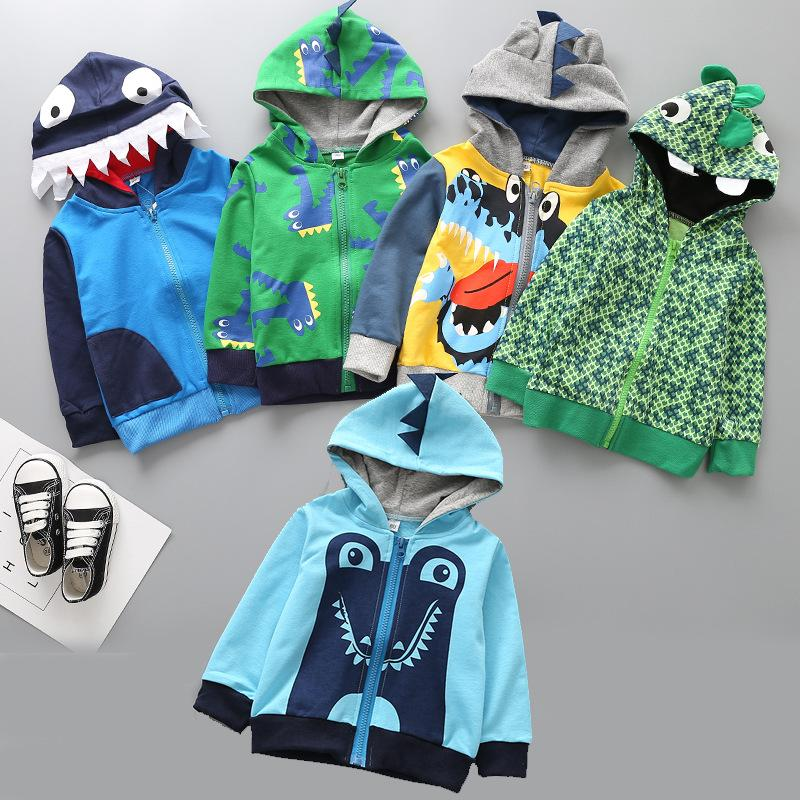 Spring Boys Jacket Cartoon Dinosaur Crocodile Kids Coats with Zipper Hooded Children's Jacket Outerwear Baby Boys Clothes