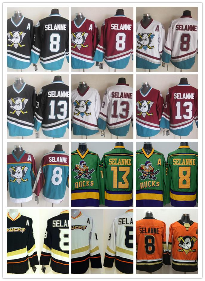 new style 85d47 07893 Anaheim Ducks jerseys #8 #13 Teemu Selanne jersey ice hockey men Black Teal  Alternate orange Authentic Double Stiched CCM Jerseys S - 3XL