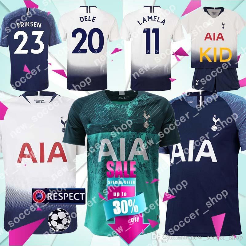 online store 79d40 24ee5 Top Thailand quality Spurs Soccer Jerseys 10 KANE 11 LAMELA 7 SON 20 DELE  23 ERIKSEN 19 DEMBELE Men Kids Kits Football shirt