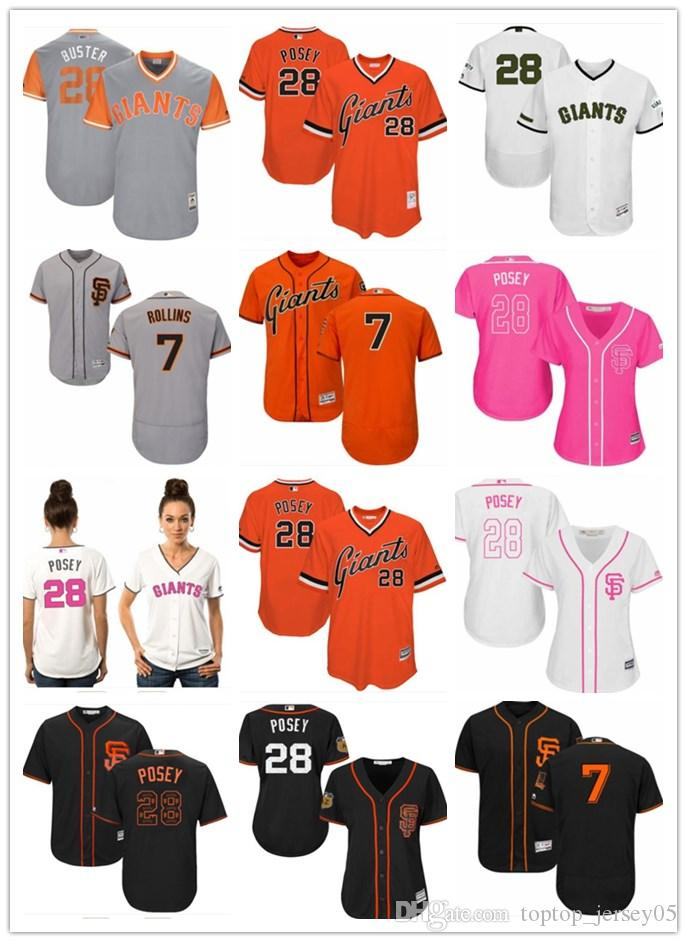 sports shoes 41828 de392 2018 top San Francisco Giants Jerseys #28 Posey Jerseys men#WOMEN#YOUTH#Men  s Baseball Jersey Majestic Stitched Professional sportswear