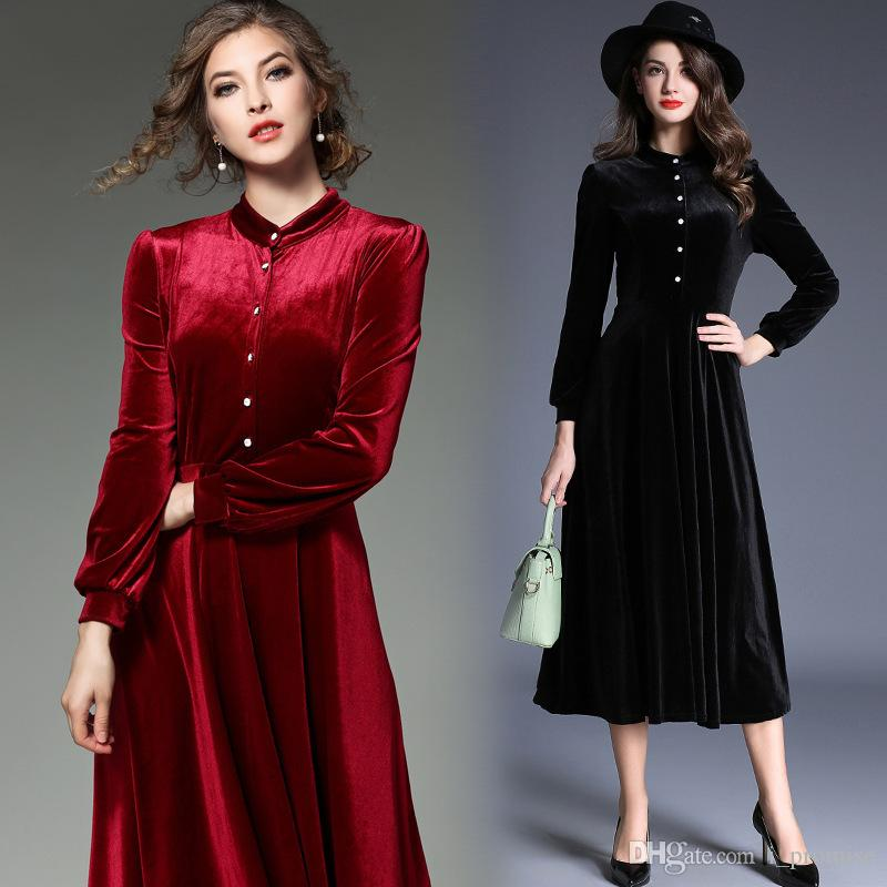 b6aa30c90c Black Red Velvet Dress Fashion Prom Dresses Cheap Evening Dresses ...