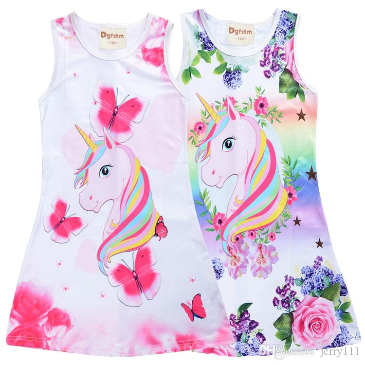 Kids Girls Lovely Unicorn Floral Dresses Sleeveless A Line Dress Clothes 4-9 Y