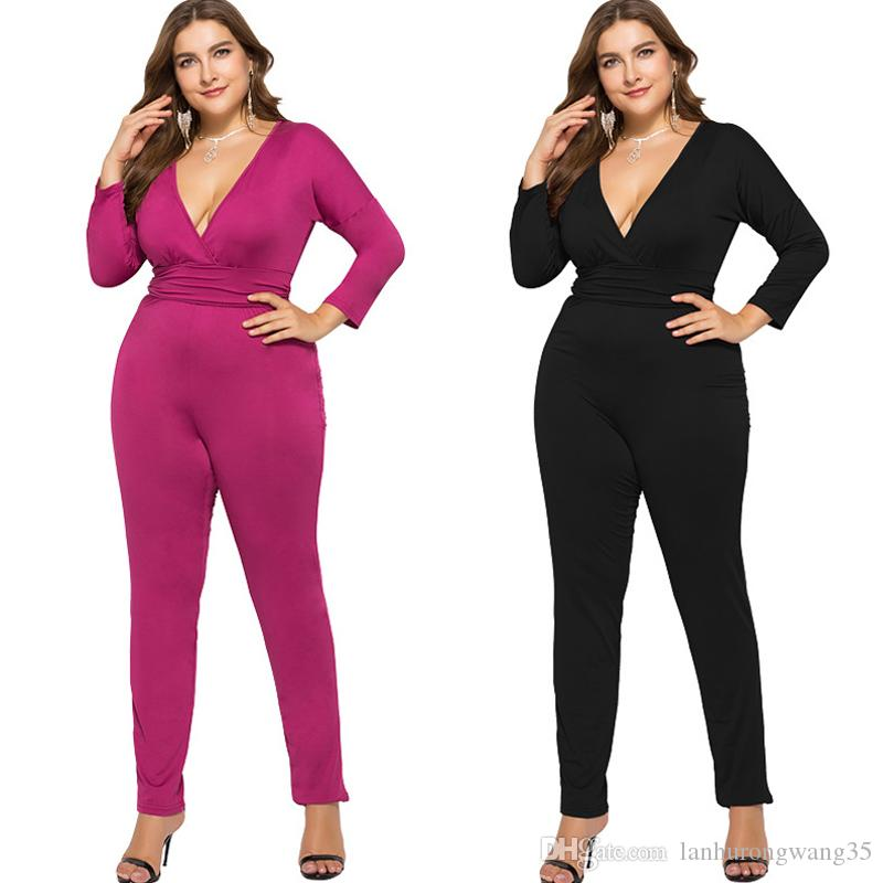 a097376d63e 2019 Plus Size Black Sexy Bodycon Jumpsuit Romper Long Sleeve Bodysuit Women  Sexy V Neck Overalls Elegant Full Length Polyester 2019 1131 From ...