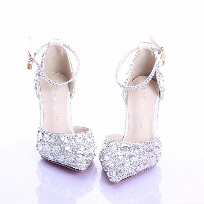 Women Sandals Rhinestones Crystal Wedding Heels With Buckle Ankle Strap  Evening Party Pointed Toe Beautiful Comfortable Shoes Prom Shoes Silver  Shoes From ... 247840043e38
